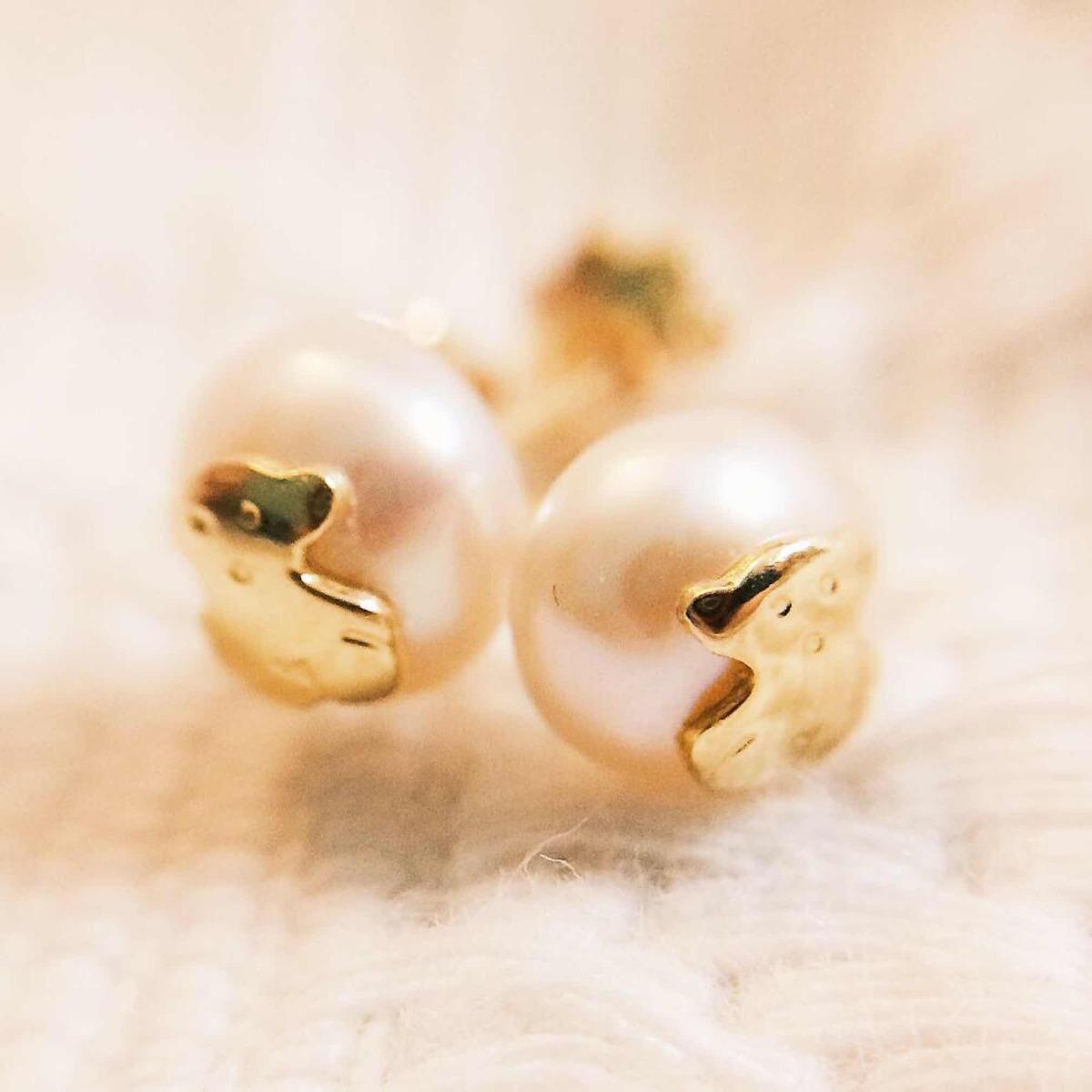 6f6cf357bed3 par de pendientes tous bear de perla con oro. Cargando zoom.
