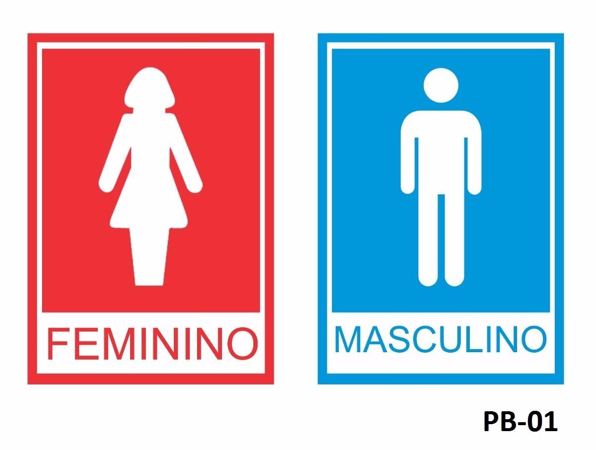 Imagens Porta Banheiro Feminino : Par de placas aviso banheiro feminino masculino r