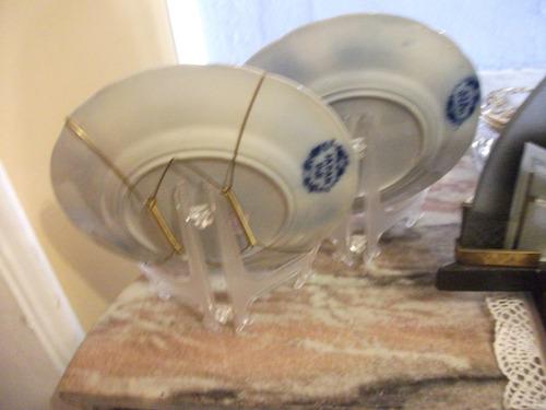 par de pratos em louça borrão padrão japan, gaudy, villeroy