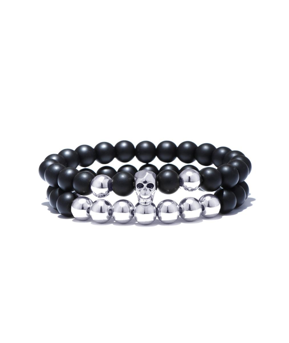 eb316816fccc par de pulseras cráneo modelo perla negra p11 hombre mujer. Cargando zoom.