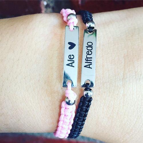 par de pulseras de pareja personalizadas acero inoxidable