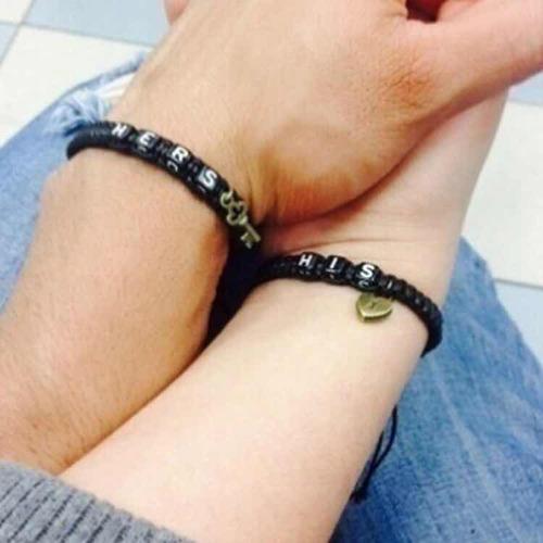 par de pulseras para pareja his hers macramé trenzado negro