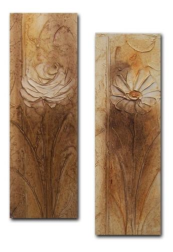 par de quadros para sala quarto corredor floral marrom 20x60