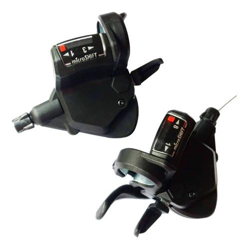 par de shifters microshift - 3x8 -shimano compatible