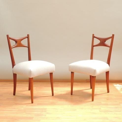 par de sillas caoba estilo danés años 60s original vintage