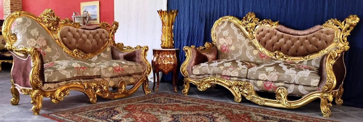 Par De Sofas Moderno Design Rico Em Entalhes Luxuosos Decora