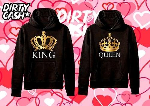par de sudaderas de pareja king queen dia del amor y amistad