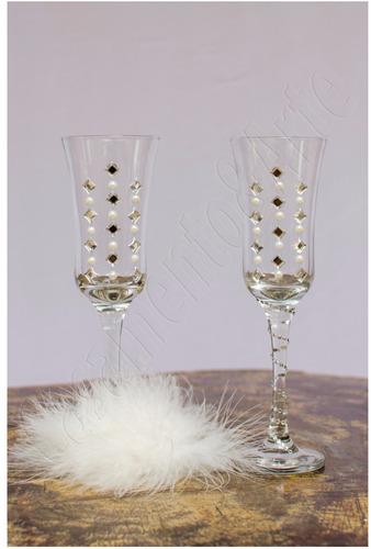 par de taças decoradas para brinde dos noivos