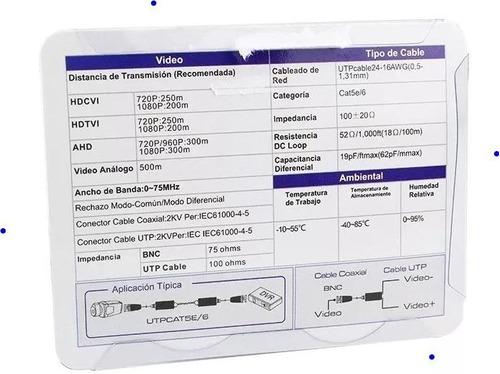 par de transceptores balun video saxxon hasta 4mpx 4 en 1