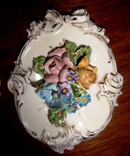par de únicos cuadritos porcelana isabelina rococo firmado