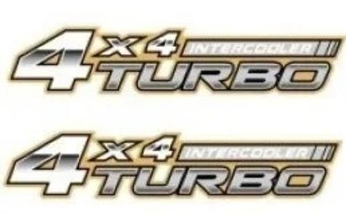 par dois adesivos 4x4 turbo intercooler dourado hilux 05/...