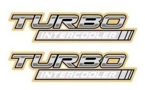 par dois adesivos turbo intercooler dourado hilux 05/...