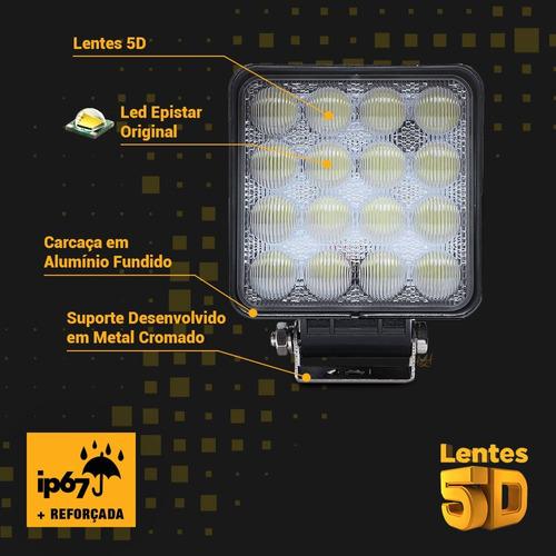 par farol led branco 48w quadriciclo 6840 lumens quadrado
