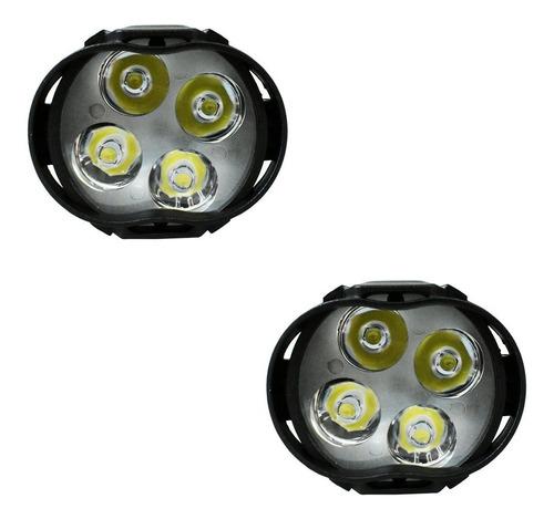 par faros 4 hiper led ovalo auxiliar con estrobo