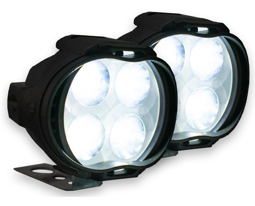 par faros 4 led luz fija y estrobo redondos