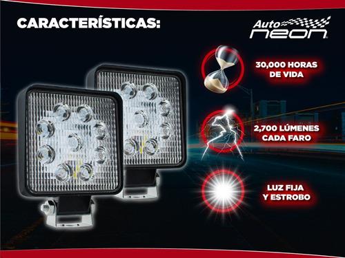 par faros 9 led estrobo auxiliares 27w 4x4 universales spot