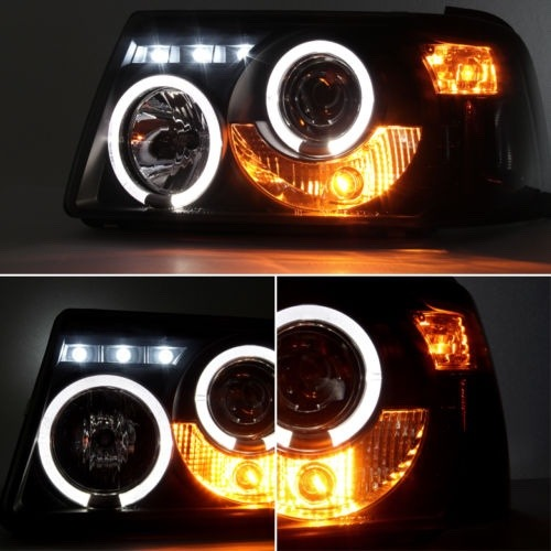 Pair Smoked Headlights Magnifying Eye Angel Led Ford Ranger 2006-8268