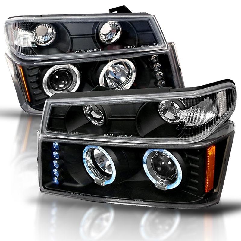 Par faros lupa led negros chevrolet colorado 2007 2008 2009 5 en mercado libre for Chevy colorado interior lights