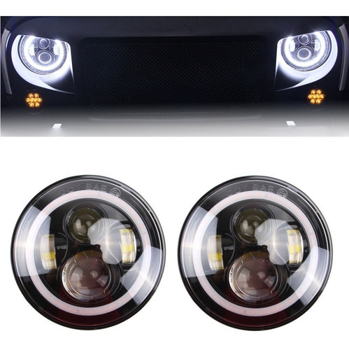 par faros ojo angel led jeep jk wrangler 7 tj cj5 cj7