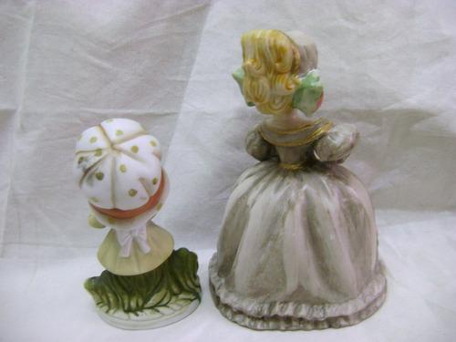 par figuras niñas con gorros porcelana resina - no envío