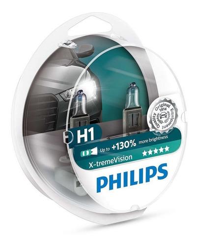 par lampada philips h1 x-treme vision plus 130% + luz 3500k
