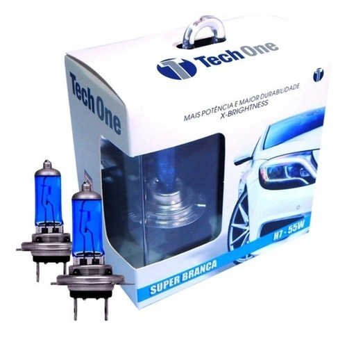 par lampada super branca h7 8500k tipo xenon 12v 55w techone