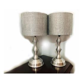 Par Lámparas Aluminio Touch Para Buró Con Leds #998 Silver