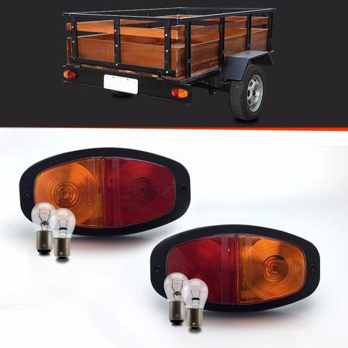 par lanterna univ. carretinha reboque canoinha + lampadas
