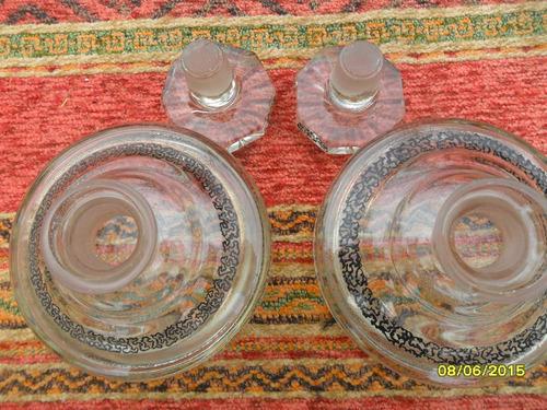 par lote de 2 antiguos perfumeros en vidro, tapón esmerilado
