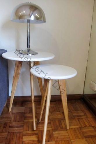 par mesas lateral  auxiliar diseñ nórdico escandinavo blanco