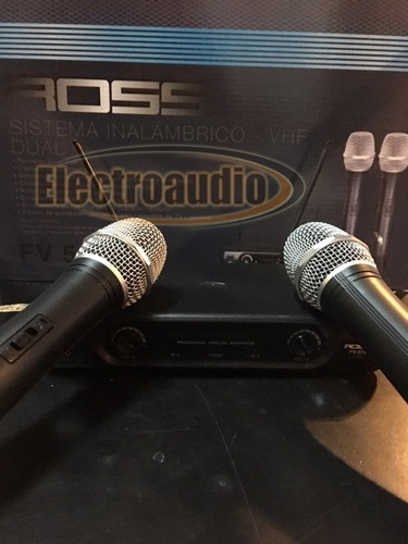 par microfono inalambrico dual ross de mano vocal vhf bateri