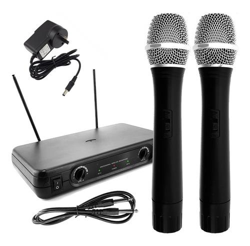 par microfonos inalambricos profesionales vhf cable fuente