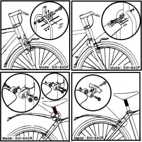 par paralama 26 importado bike mtb plastico preto refletivo