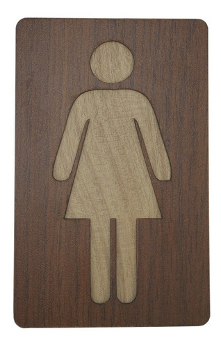 par placa banheiro wc sinalização lavavel acabamento madeira