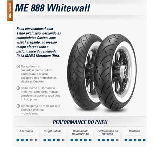 par pneu harley road king faixa branca 130/90 180/65 metzele