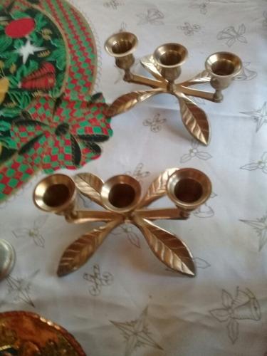 par portavelas hojas de bronce