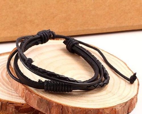 par pulseras unisex de cuero negro, marrón