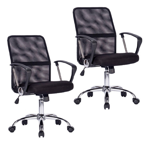 par sillas oficina escritorio computadora pc ejecutiva x2
