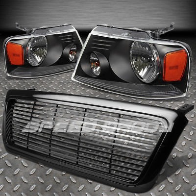 Para 04 08 Ford F150 Negro Front Grill Cover Head Lights