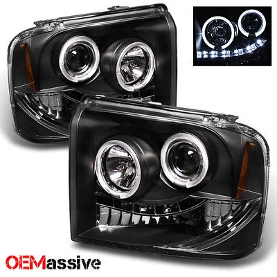 Fits 05-07 F-Series SuperDuty 05 Excursion Black Halo LED Projector Headlights
