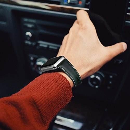 para apple watch band 38 mm, ouheng retro vintage cuero genu