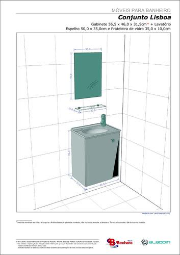 Gabinete Armário Para Banheiro Com Pia Lisboa Brancofresno  R$ 199,90 em Me -> Armario De Banheiro Mercado