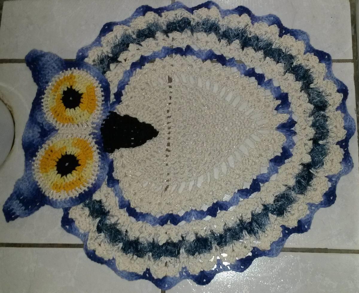 De Tapetes Para Banheiro Em Crochê 3 Peças Coruja R$ 149 00 em  #6E4E11 1200 982