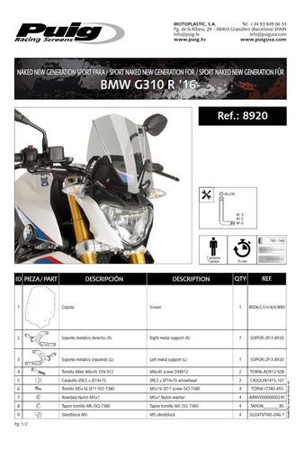pára-brisa new generation sport para bmw g310r - puig 8920h