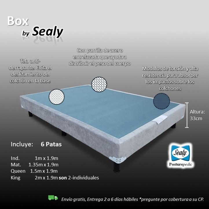 Box spring sealy king size para cama y base para colchon for Medidas de colchon matrimonial