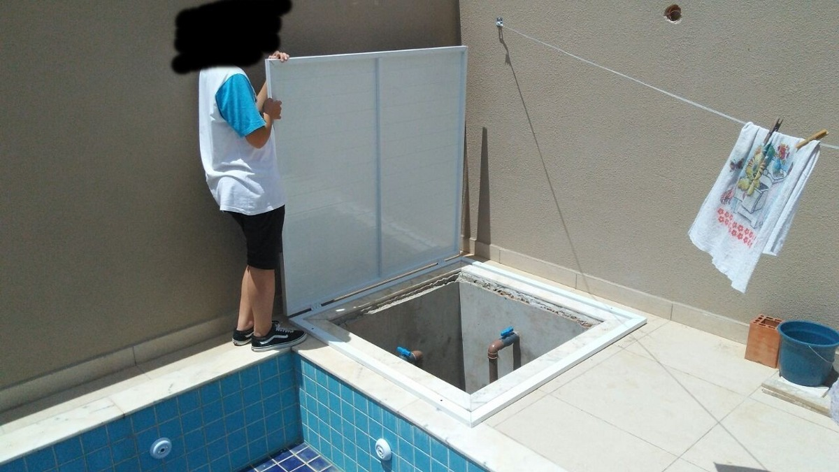 Tampa para casa de maquina bomba em aluminio para piscinas - Medidas de piscinas de casas ...