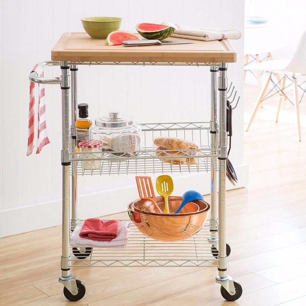 Carrito auxiliar para cocina tablero cesta ruedas for Carritos de cocina baratos