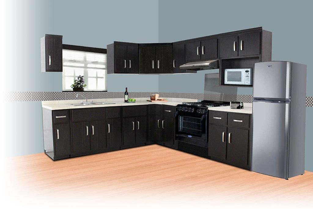 Tarja doble fregadero para cocina integral madera granito for Cocinas modernas de madera 2016