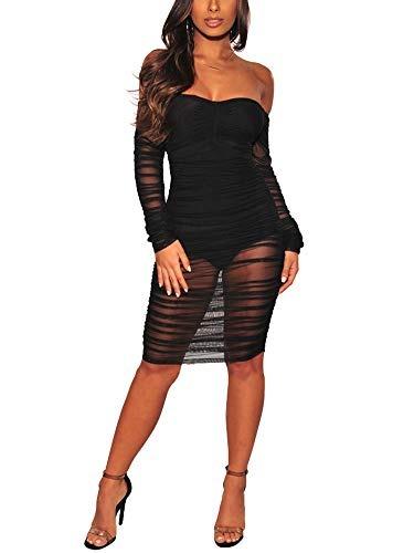3461c073943e Para Dama Chicmay Vestido Encaje Malla Abertura Hombro Amz