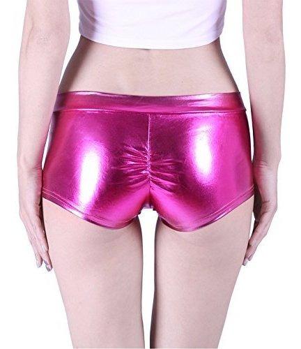 para dama hde pantalone corto metalico brillante